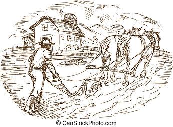 granero, granjero, arada, caballo, campo, cortijo