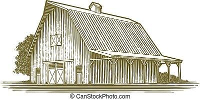 granero, woodcut, icono