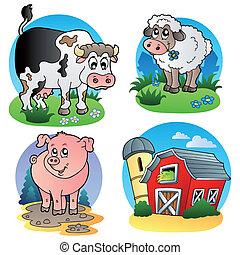 granja, 1, vario, animales