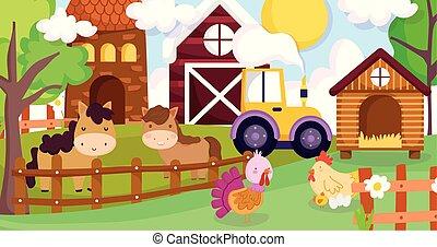 granja, caballos, pollo, gallina, animales, cerca, pavo, tractor, granero, casa