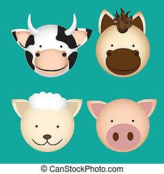 granja, cabezas, animal