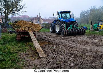 granja, campo, tractor