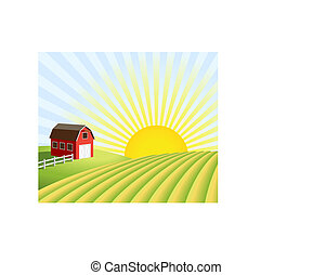 granja, campos, salida del sol