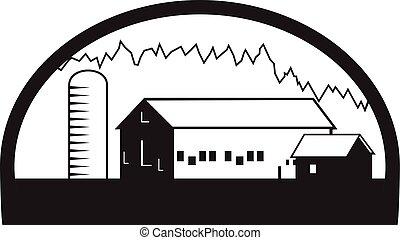 Granja casa silo blanco y negro