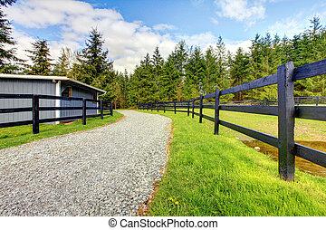 Granja de caballos con carretera, cerca y cobertizo.