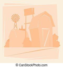 Granja de siluetas con casa, paisaje de granja