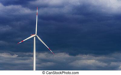 Granja de turbinas de viento. Windmill
