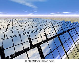 granja, desierto, panel solar