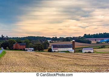Granja en el condado de Lancaster rural, Pennsylvania.