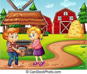 granja, granero rojo, escena, molino de viento