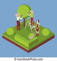 Granja, jardinería y agricultura. Corta el árbol con podador.