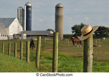 Granja Lancaster Amish con sombrero de paja