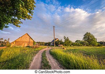 Granja letona. Paisaje rural.