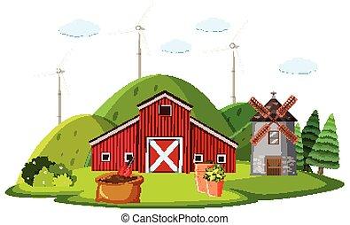 granja, molino de viento, rojo, escena, granero