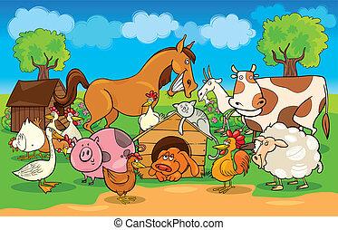granja, rural, animales, escena, caricatura