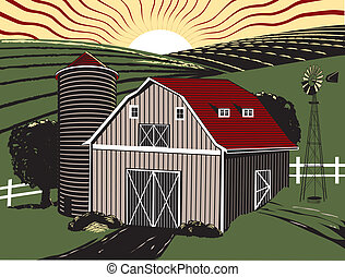 granja, salida del sol