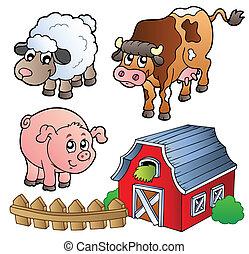 granja, vario, animales, colección