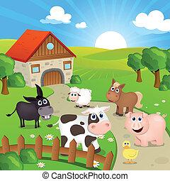 granja, vector, animales