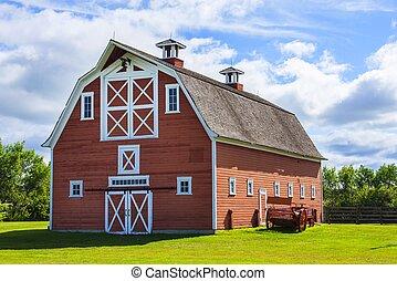 granja, viejo, granero rojo