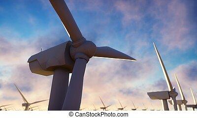 Granja Windmill al amanecer. Windmill contra un cielo azul. 3D