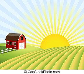 Granja y campos al amanecer