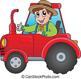 Granjero de cartón en tractor