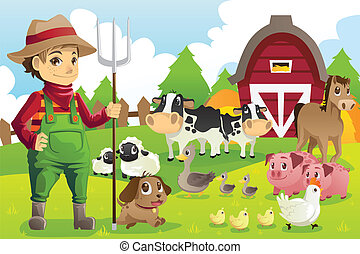 Granjero en la granja con animales