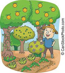 Granjero en un huerto