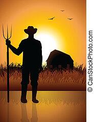 granjero, granero, el suyo