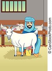 Granjero musulmán ordeñando sus cabras en ilustraciones de granero