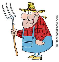 granjero, rastrillo, hombre, proceso de llevar