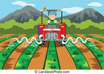 Granjero regando la granja con tractor