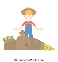Granjero, vector, granja, agricultura, agrícola, ilustración, vegetal, cosecha, hombre, persona, caricatura, aislado, trabajador, diseño, profesión, trabajo, jardín, jardinería