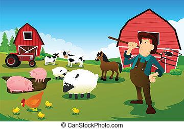 Granjero y tractor en una granja con animales de granja y granero