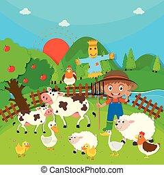 Granjeros y animales de granja