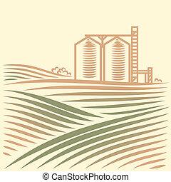 grano, paisaje, elevador, uno