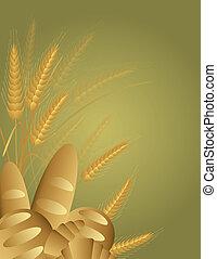 grano, panes, trigo, ilustración, tallos