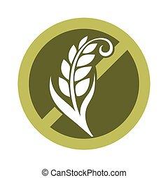 granos, gluten, cereal, libre, logotipo, círculo, cruzado, sustancia