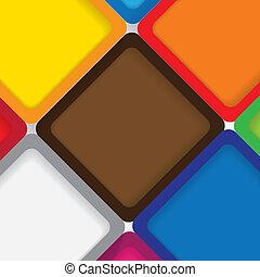 graphic., naranja, sutil, azul, y, -, luego, amarillo, papeles, fronteras, cuadrados, rosa, colorido, gráfico, plano de fondo, rojo, sombras, hecho, esto, colocado, vector, verde, uno al otro, fondo