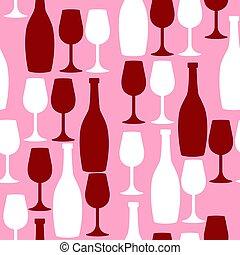 graphics., vino, blanco, vector, glasses., seamless, color., botellas, rojo, patrón, rosa