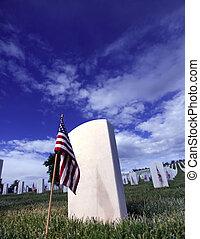 Grave marcador de soldado en el cementerio de Santa Fe en Santa Fe, Nuevo México.