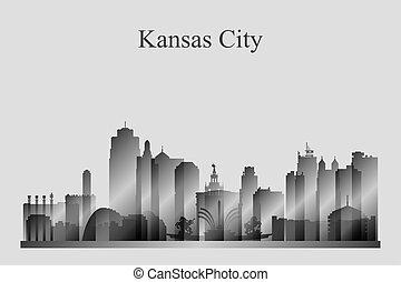 grayscale, perfil de ciudad, kansas, silueta