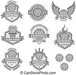grayscale, vector, baloncesto, logotipos, 2