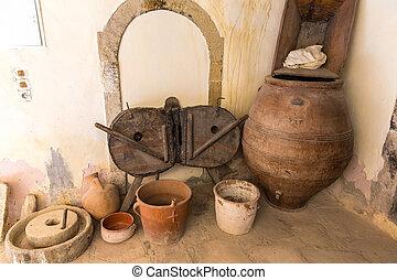 grecia, artefactos, messara, alfarería, arcilla, antiguo, monasterio, vase), crete, valle, museo, olla, (jug, griego
