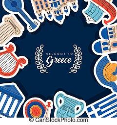 grecia, cartel, bienvenida