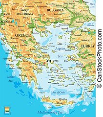 grecia, mapa, alivio