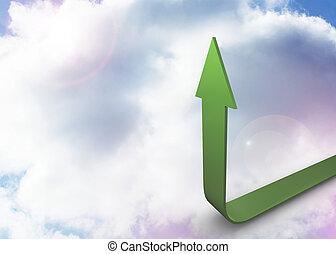 Green Arrow apuntando hacia el cielo