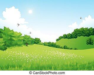 Green Landscape con árboles, nubes, flores