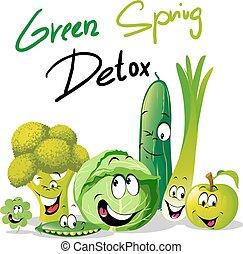 Green Spring Detox, diseño vectorial divertido con dibujos de vegetales