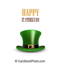 Green St. Patrick Day hat. Día de San Patricio. Feliz San Pat